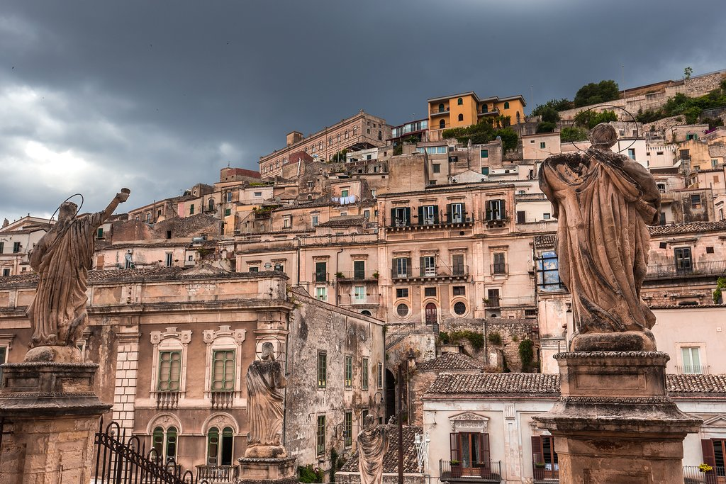 View over Modica from the steps of Cattedrale di San Pietro