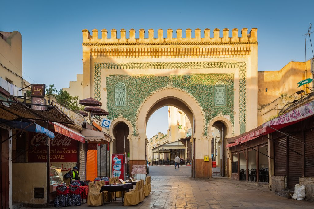 The famous blue gate, or Bab Bou Jloud in Fes