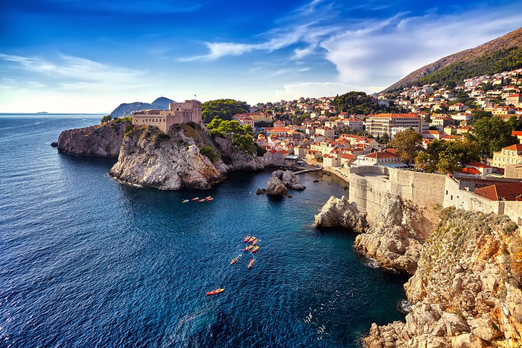 Dubrovnik Bay and historic walls, Croatia