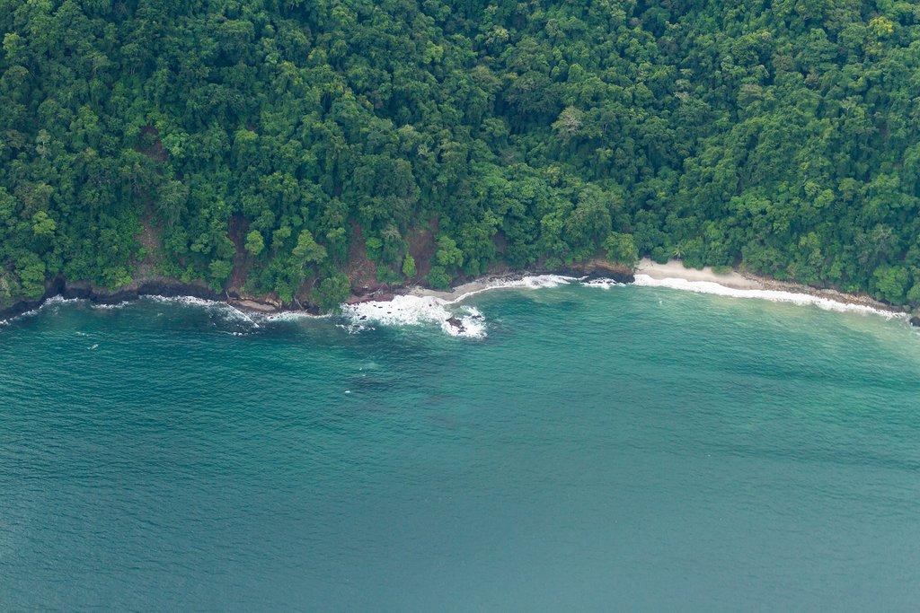 Aerial shot of coast line in Costa Rica