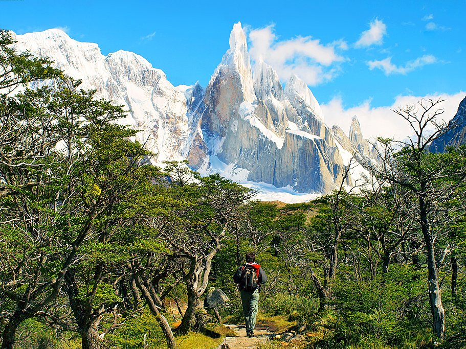 Hiker at the base of Cerro Torre