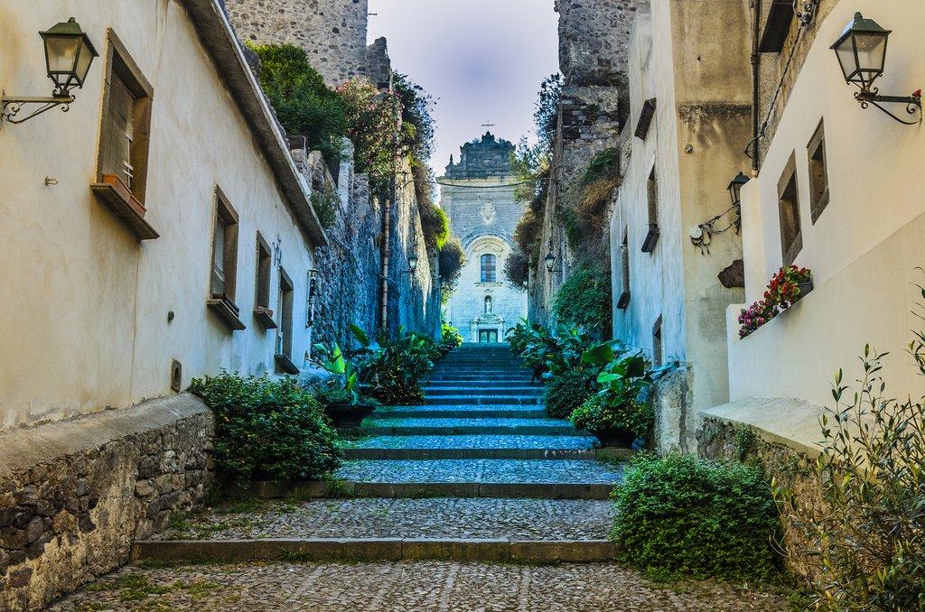 Italy - Sicily - Lipari - Street going up to church in Lipari Town