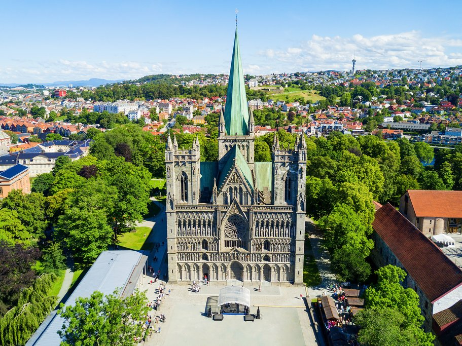 Trondheim's cathedral and leafy streets