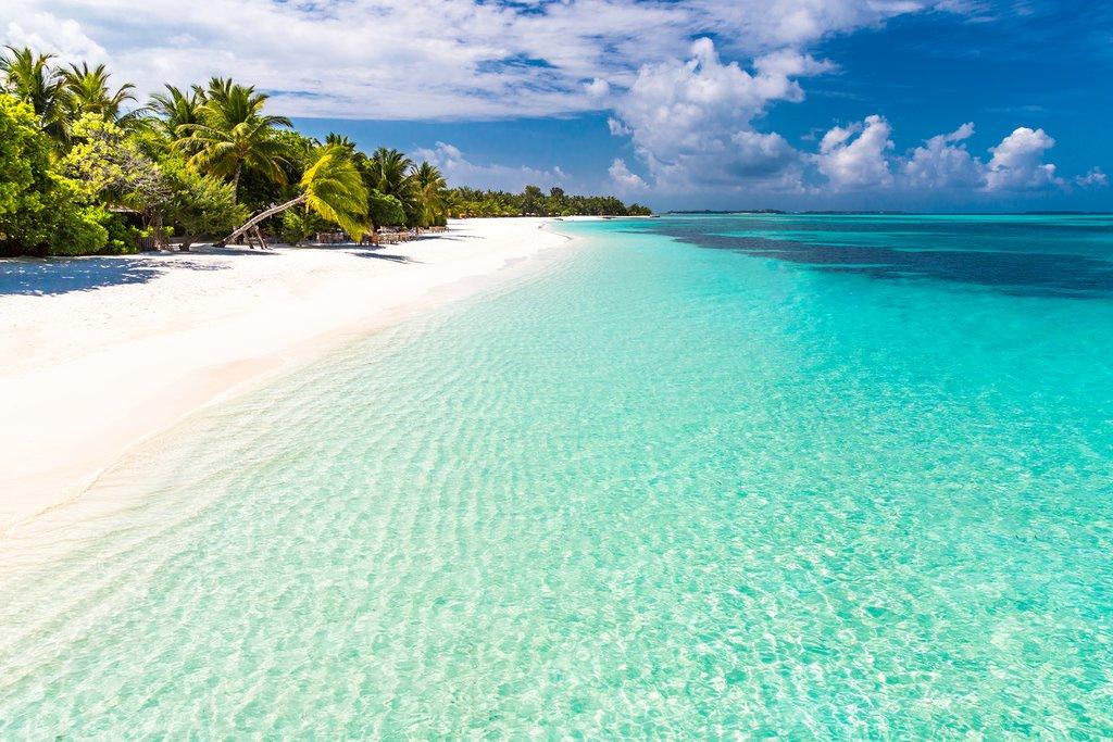 White-sand beaches on the Maldives