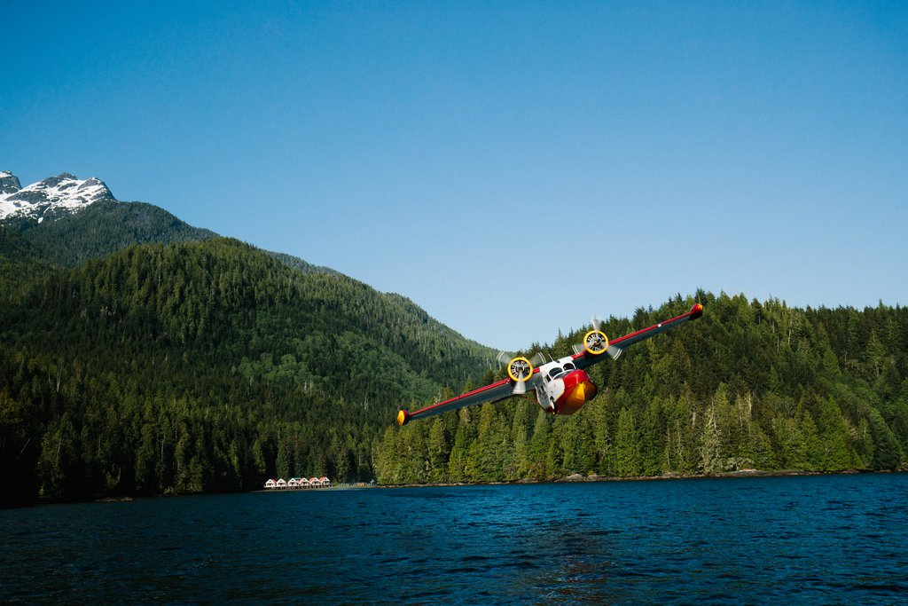 Floatplane that takes guests to and from Nimmo Bay Resort