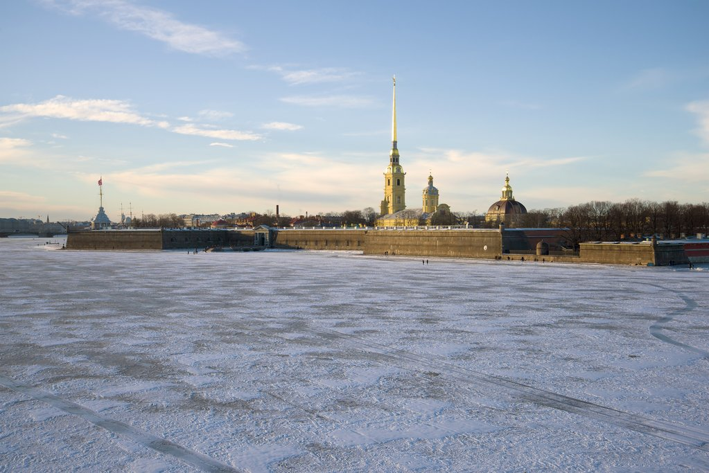Peter and Paul Fortress across a frozen river