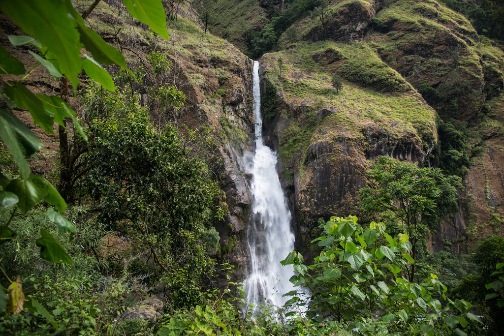 A long waterfall can be spotted early along this trek