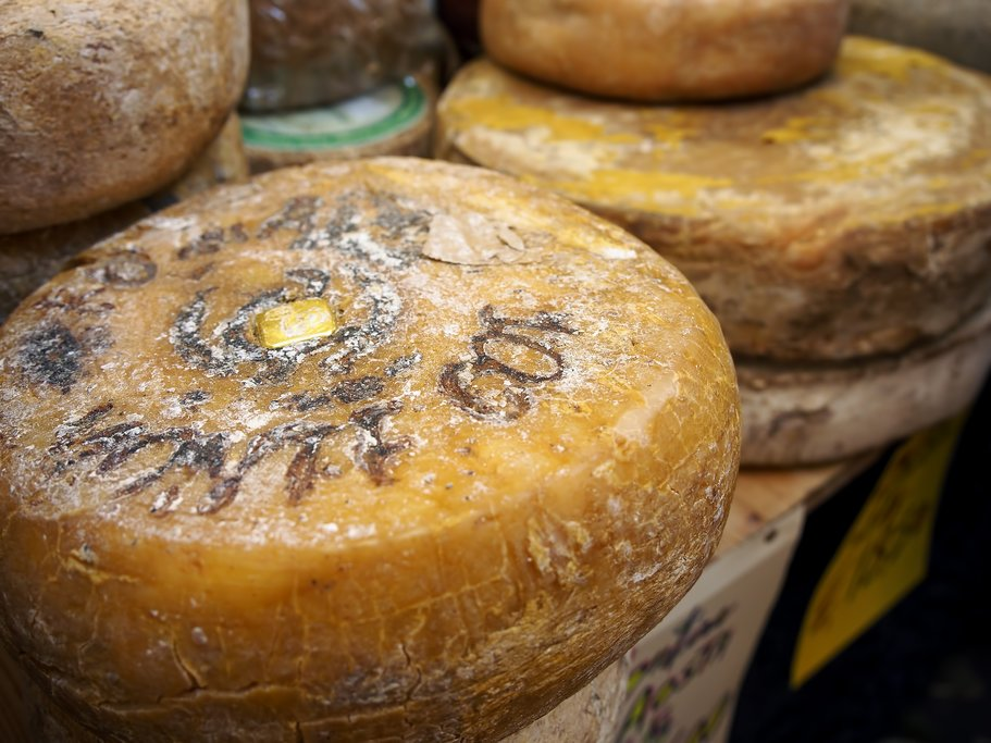 Wheels of fontina cheese