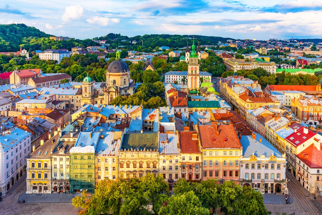 Scenic summer aerial view of Market Square architecture in Old Town, Ukraine