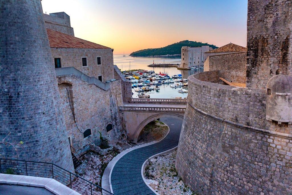 Old Walls of Dubrovnik at Sunrise