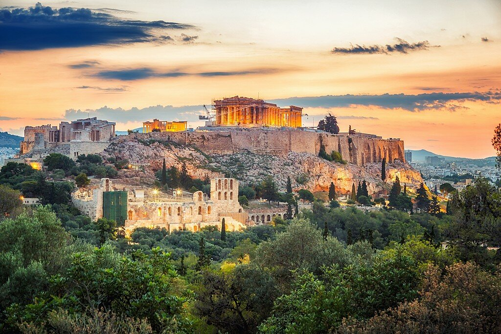 Athens and Acropolis Hill at Sunset