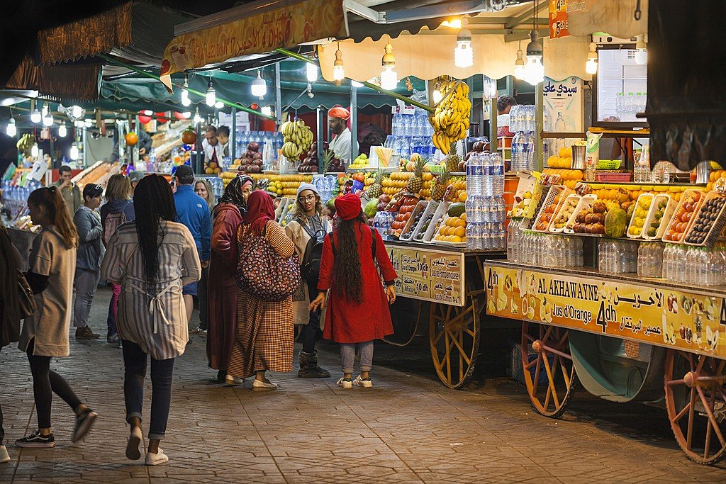 Fruit juice stalls in Jemaa el-Fna Square