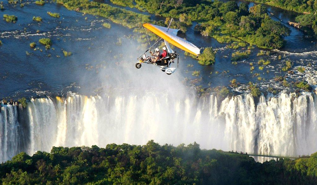 A microlight flight over the falls