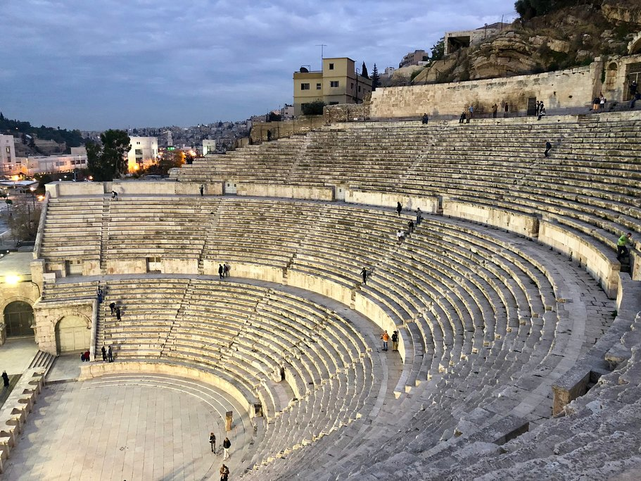 The steep stairs of the Roman Theater