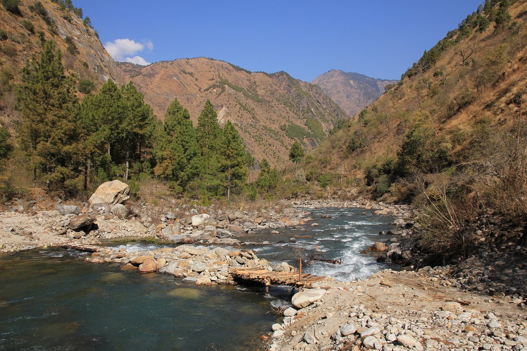 A wooden bridge crossing the Langtang river near Syabru Besi