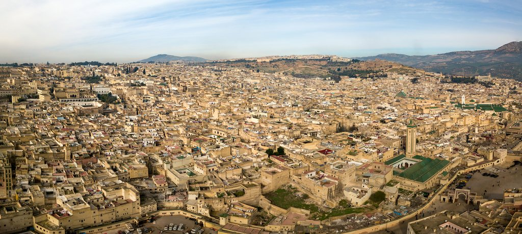 Panoramic view of the old Medina in Fes