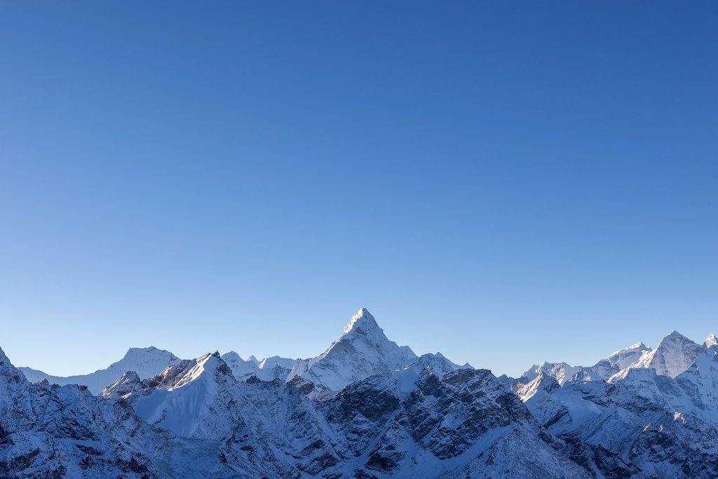 Ama Dablam lit by the first rays of morning sun