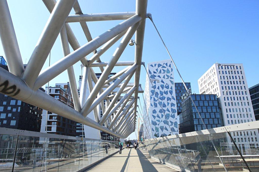 Akrobaten bridge in downtown Oslo