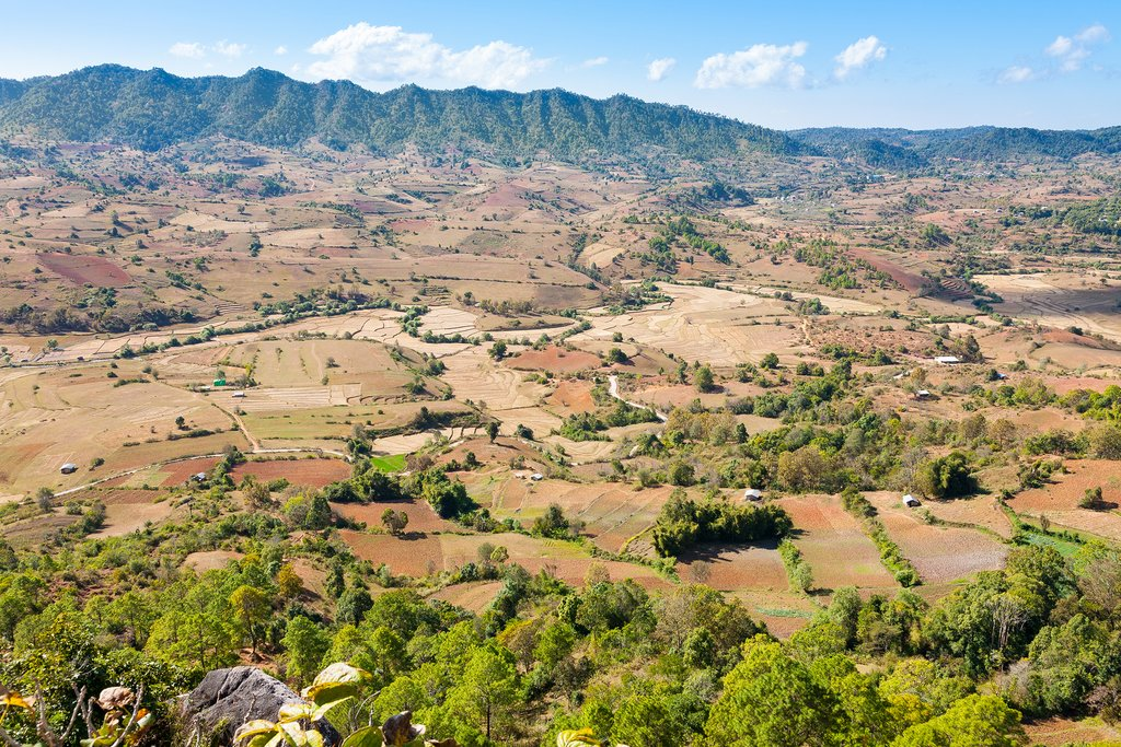 Rolling landscapes in the Shan State, Myanmar