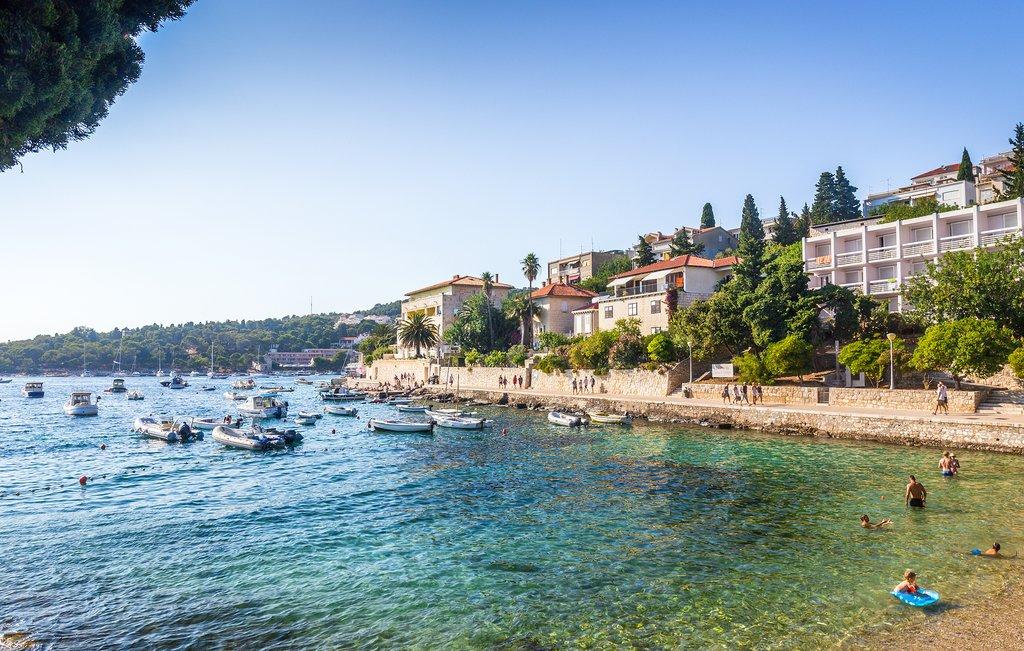 Croatia - Hvar - Summer scene of boaters and beachgoers on Hvar