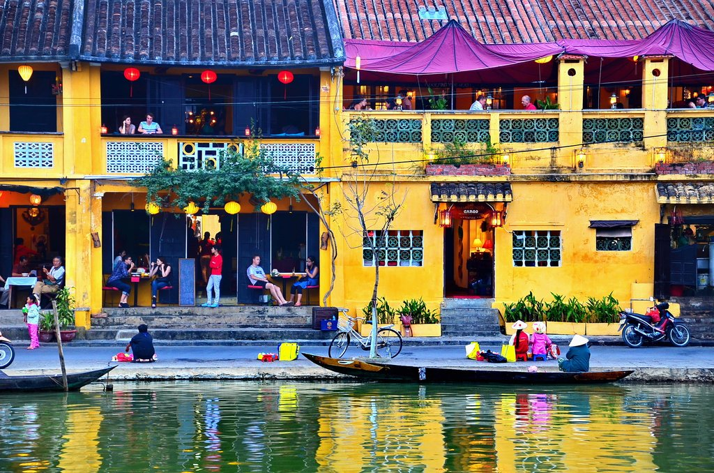 Cafés by the River in Hoi An, Vietna,
