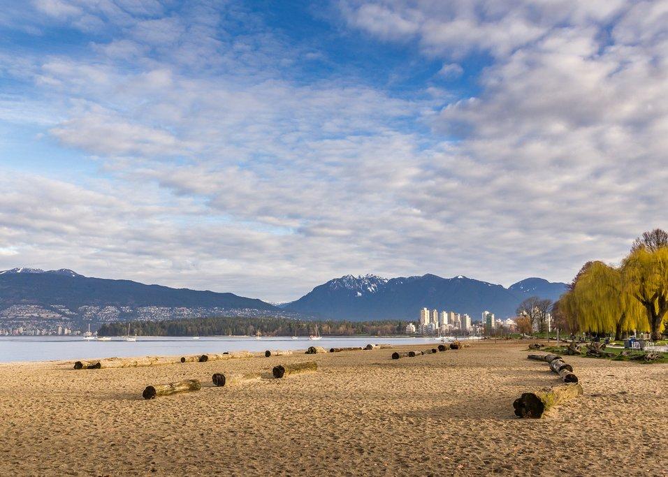 Vancouver's skyline from popular Kitsilano Beach