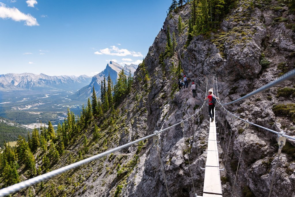 Via Ferrata climbing route high above the valley in Banff