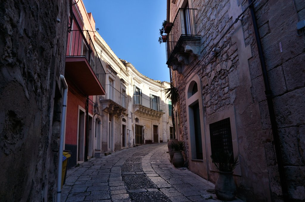 Italy - Sicily - Ragusa Ibla - A street leads up through Ragusa Ibla's historic center