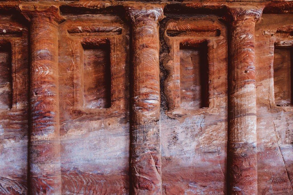 Sandstone pillars in Petra, Jordan