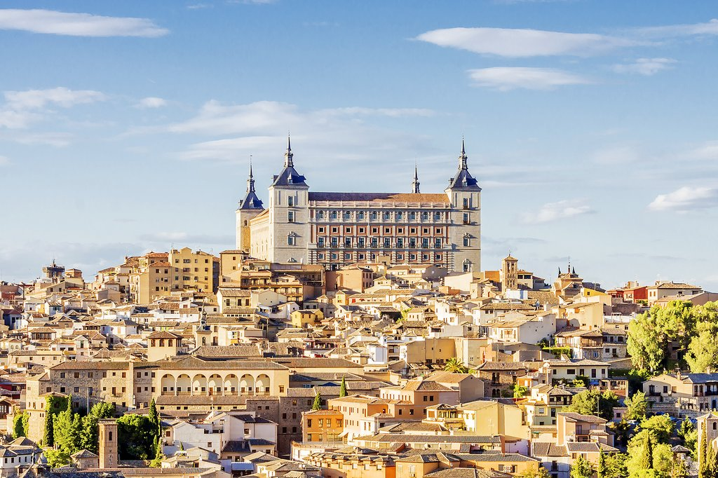 Toledo's rooftops and Alcázar Palace