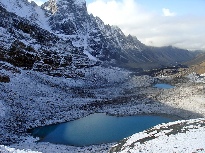 Glacial lake at the foot of the valley
