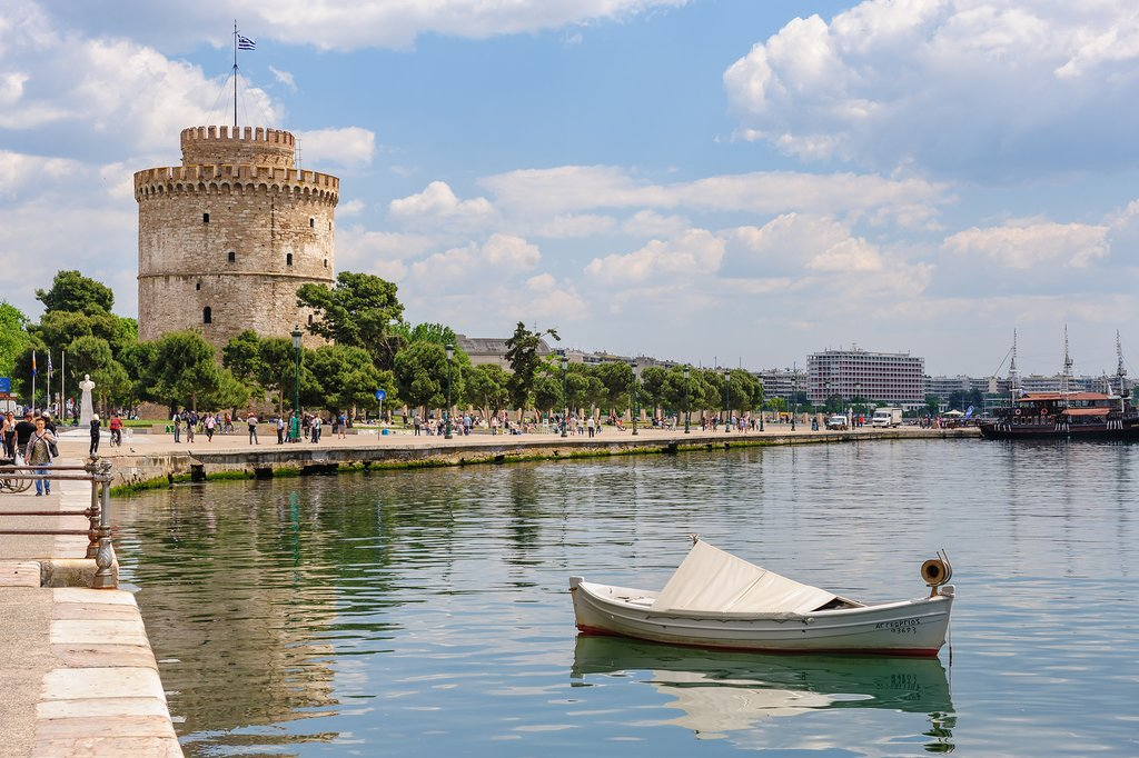 A view of the White Tower in Thessaloniki