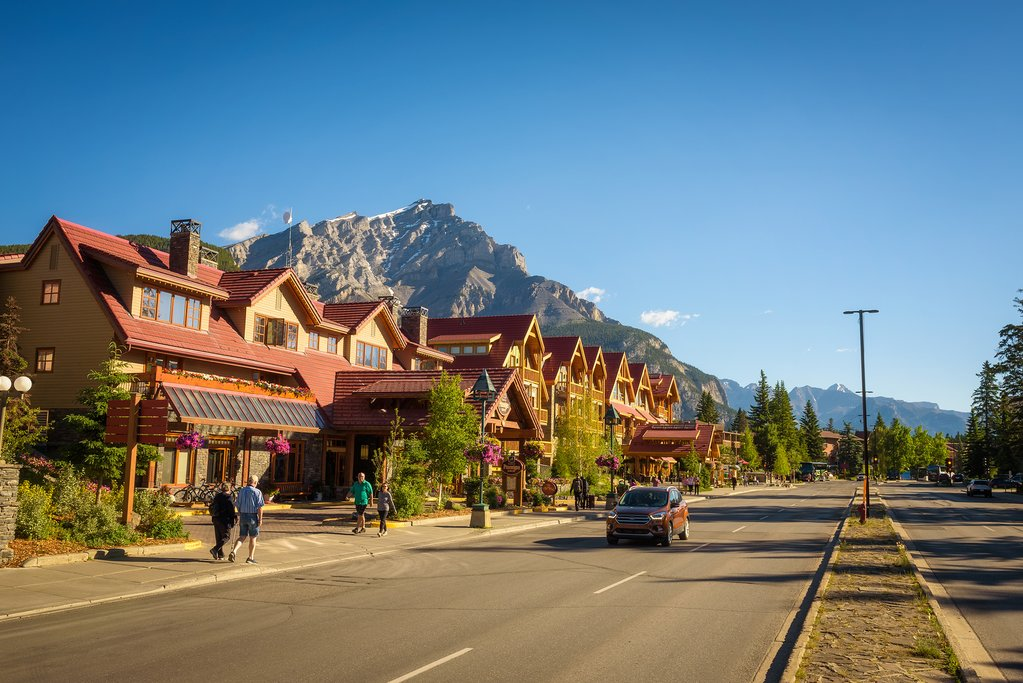 Banff Avenue in summer