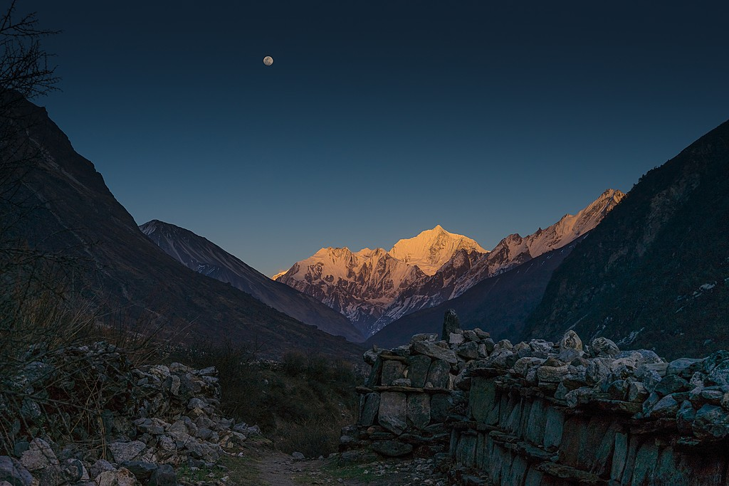 Moonrise in the Langtang Valley
