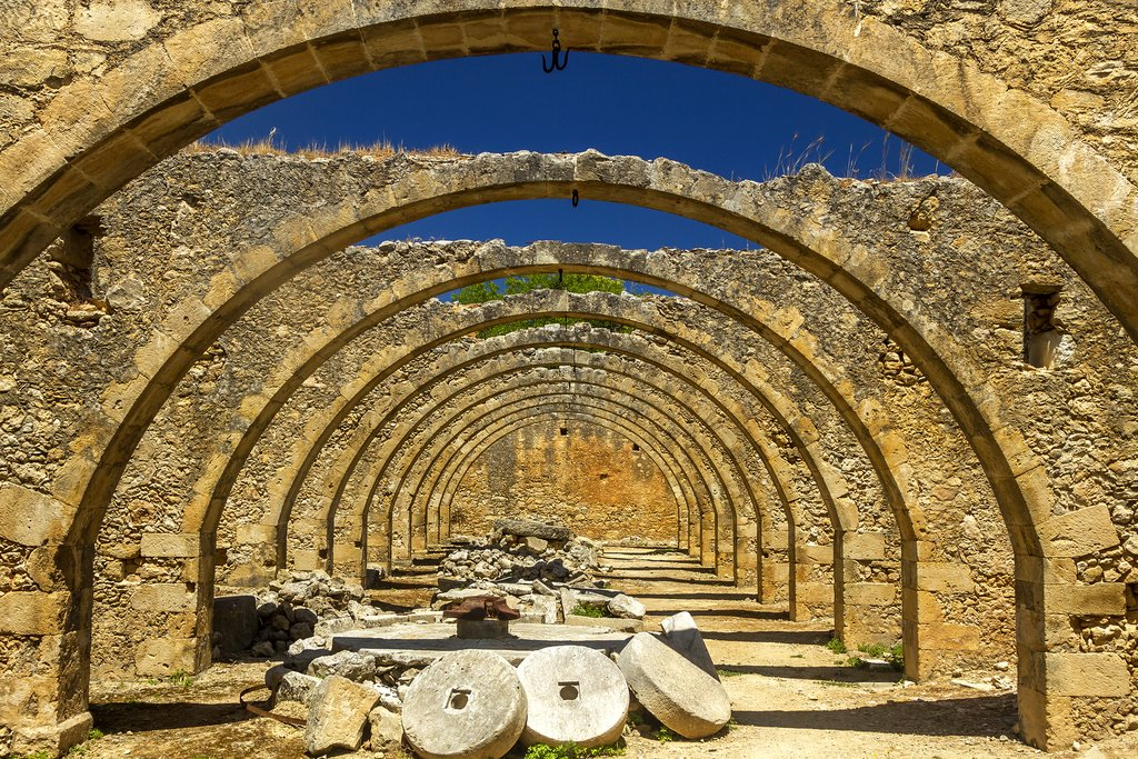 Stone arches at a former olive oil press
