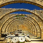 Stone arches at a former olive oil press in Apokoronas