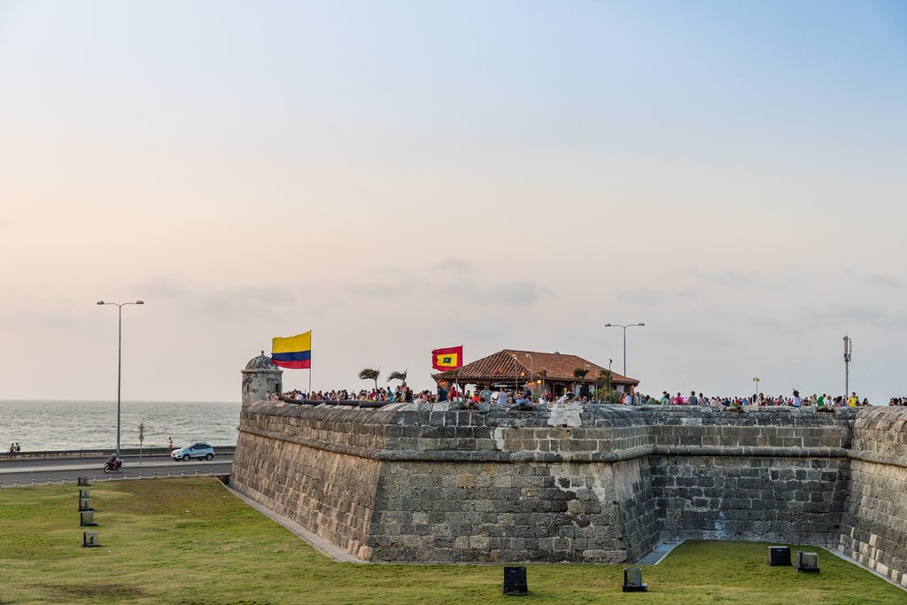 The ancient ramparts surrounding Cartagena's old town at sunset