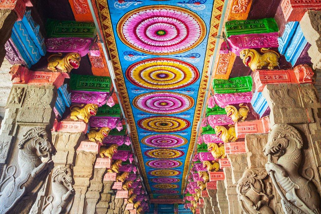 The thousand pillar hall inside Meenakshi Amman Temple