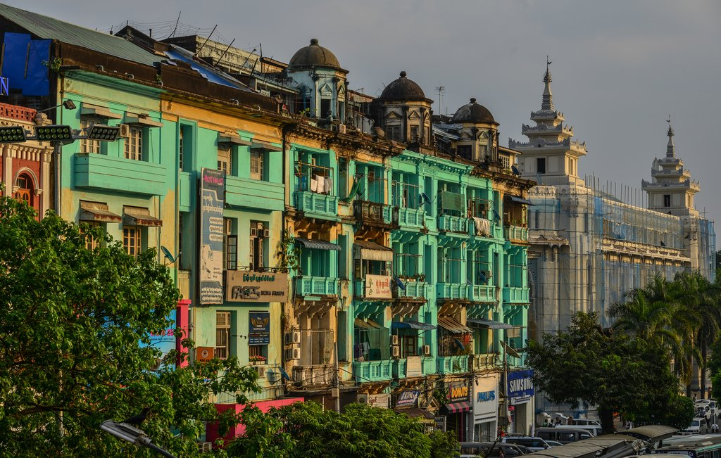Old apartments in Yangon