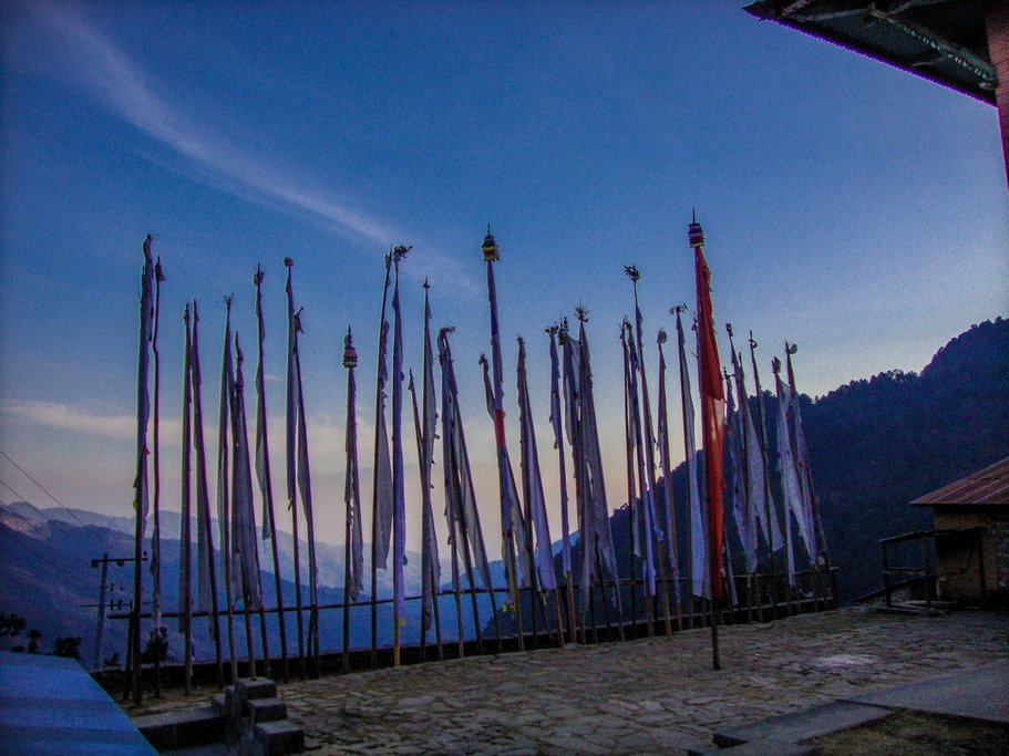 Tibetian pray flags at Sing gomba