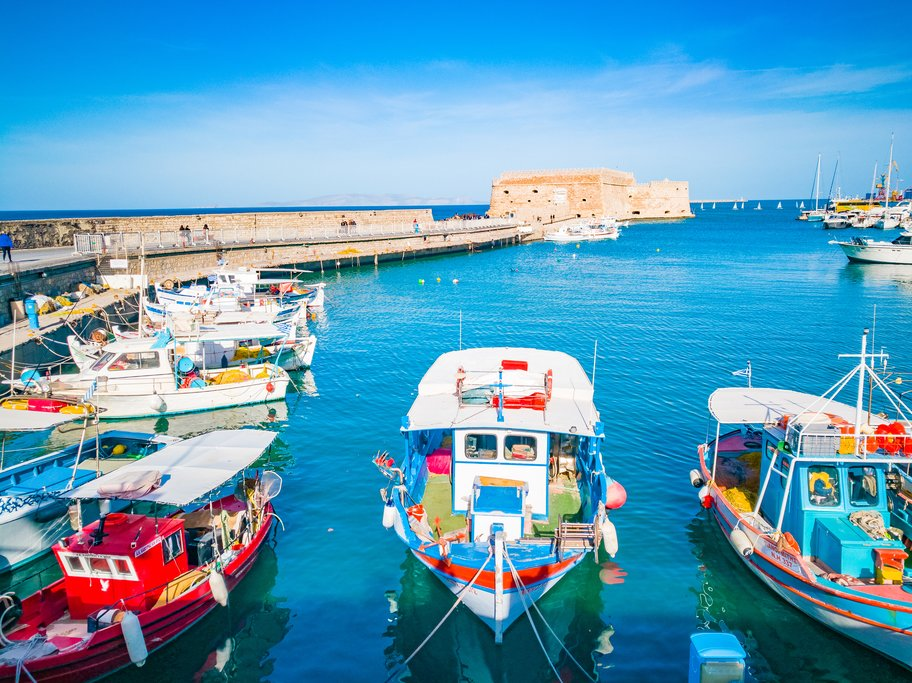Boats in the harbor of Heraklion