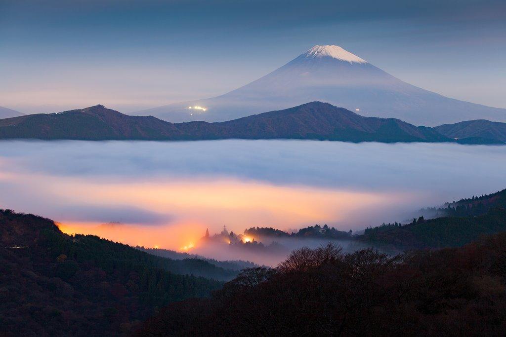 View of Mount Fuji and Lake Ashi from Hakone.
