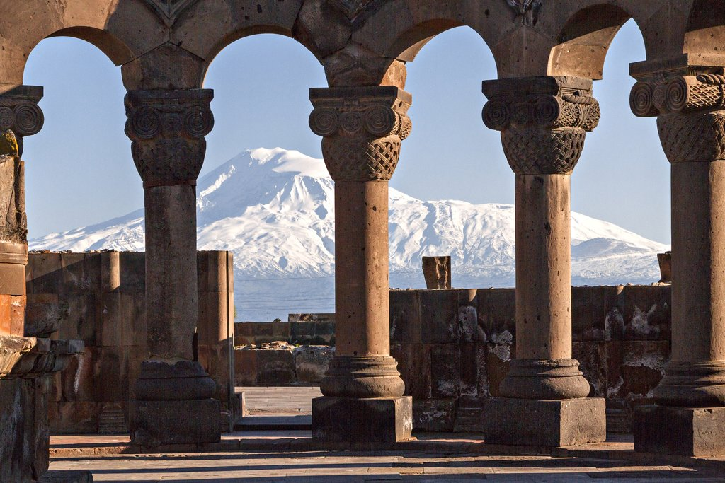Mount Ararat through the columns of Zvartnots Cathedral