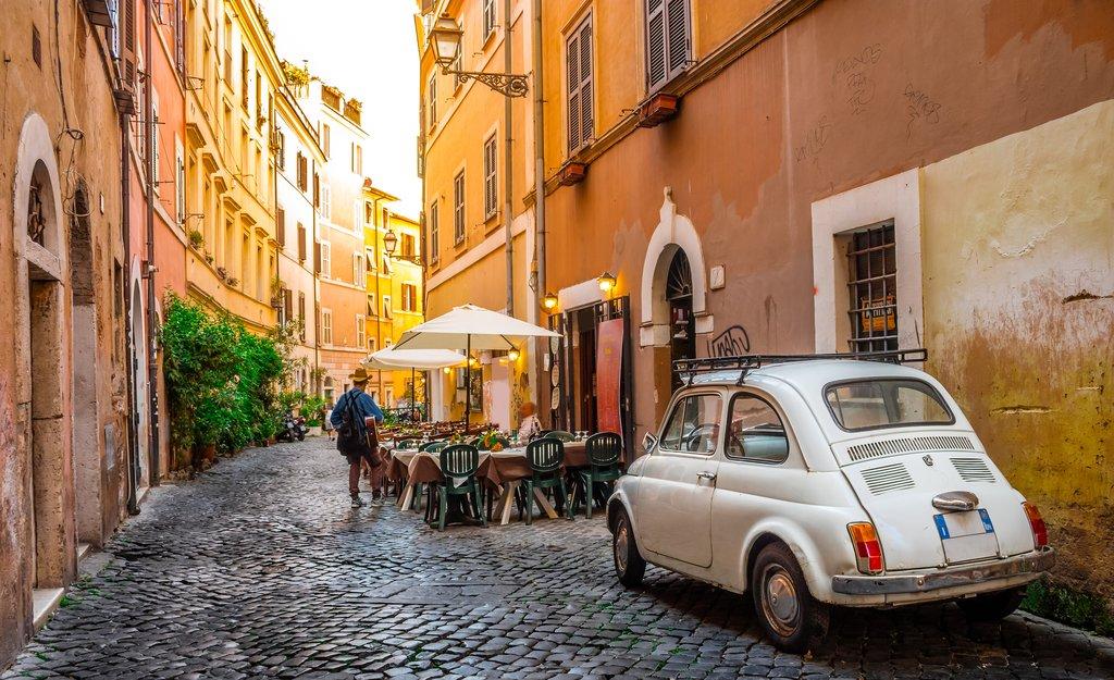 Cobbled streets in Rome's Trastevere neighborhood