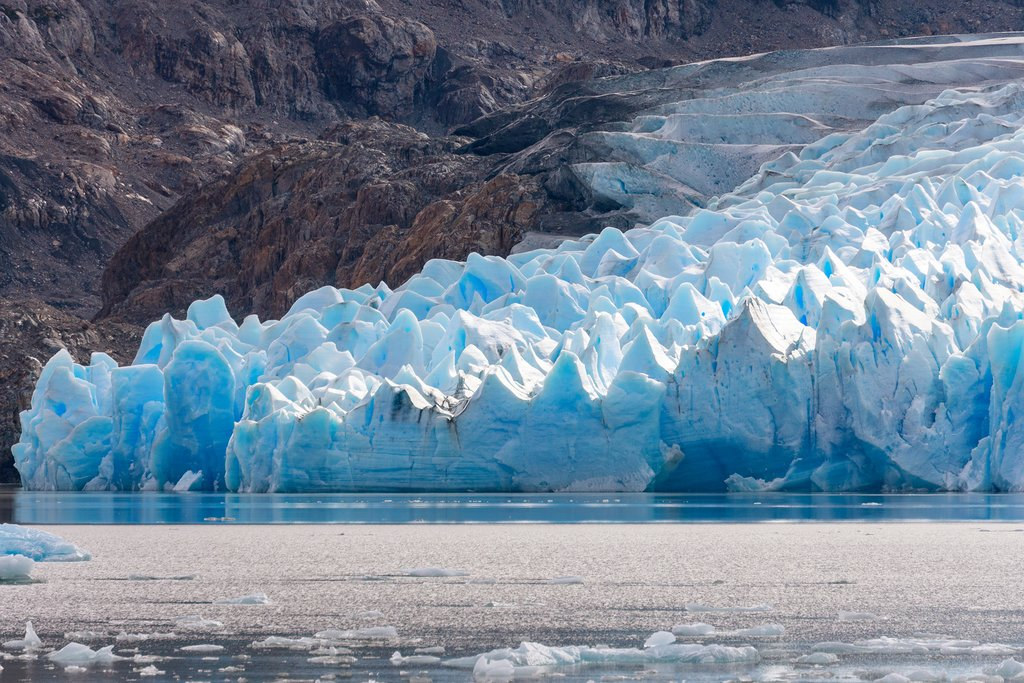 The jagged ice wall of Grey Glacier