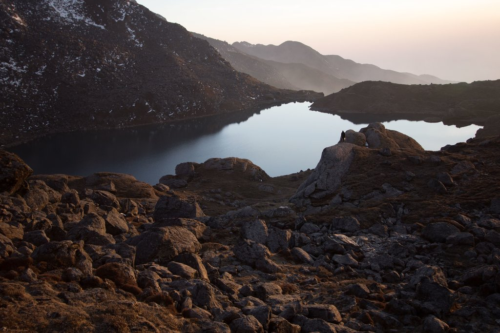 Gosaikunda Lake in the morning light