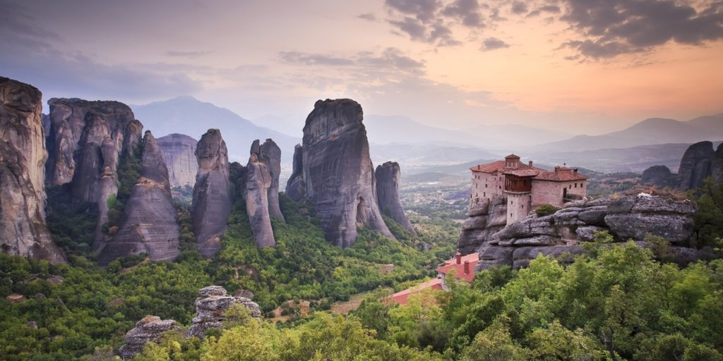 Sunset falls on the monsteries of Meteora