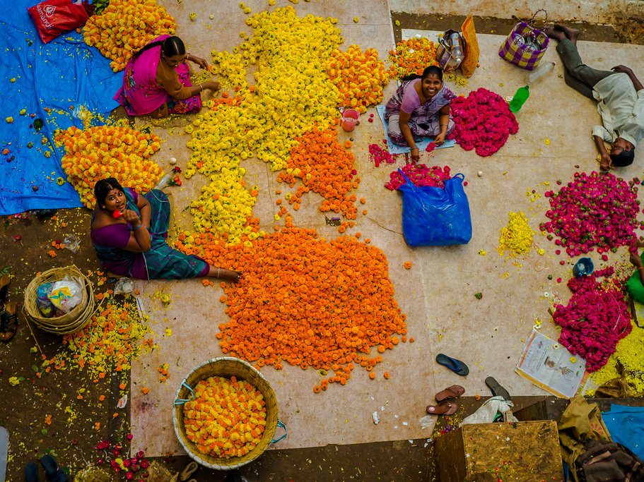 Aerial view of flower sellers at Bangalore's KR Market