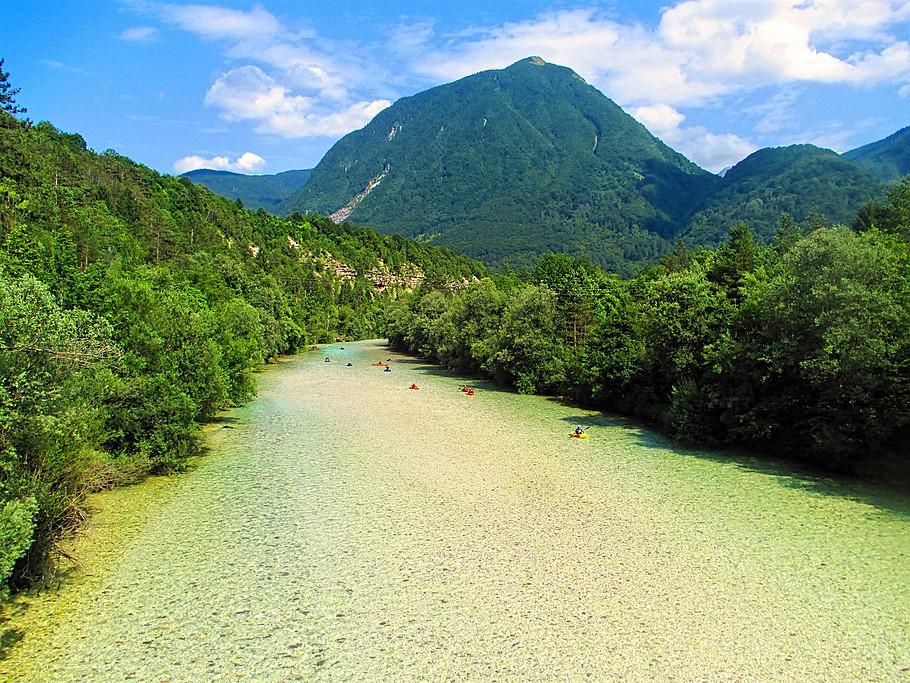 The vibrant blue-green hue of the Soča River