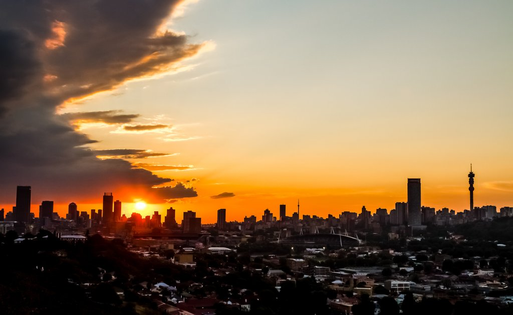 Johannesburg skyline at sunset